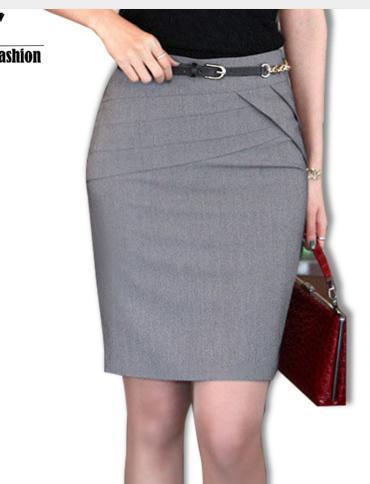 2016 Otoño Invierno Las Mujeres Faldas de Oficina Formal Lápiz Faldas Casuales Sexy Delgada Cintura Alta de La Rodilla-Longitud de la Falda de Midi Plus tamaño