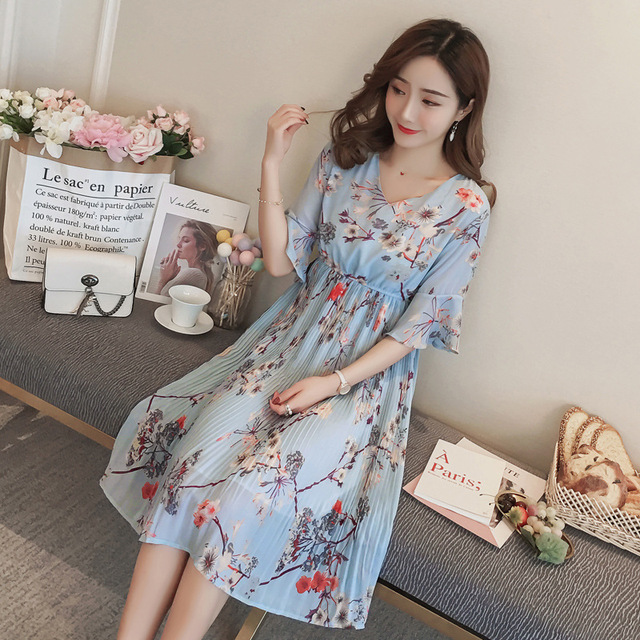 91f38b0f368b 2018 new summer printed chiffon maternity dresses fashion floral pleated dress  pregnant women dresses pregnancy clothes