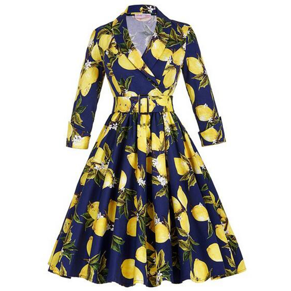 Women Floral Vintage Dress Lemon Print Party Dress Style 1950 s Rockabilly  Dress Vestido Luxury Pleated Vintage Dresses-in Dresses from Women s  Clothing on ... 3831e311e720