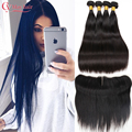 Xuchang Longqi Beauty Hair 8A 13x4 Ear To Ear Lace Frontal Closure With 3 Bundles Tissage Bresilienne Straight Hair With Closure