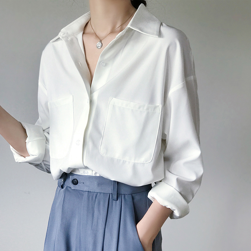 OL Style White Shirts for Women Turn-down Collar Pockets Women Blouse Tops Elegant Workwear Female Tops blusas femme 2020 Autumn(China)