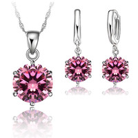 JEXXI 925 Sterling Silver 10MM Jewelry Sets Cubic Zircon Crystal Lever Back Earrings Pendant Necklace Nice
