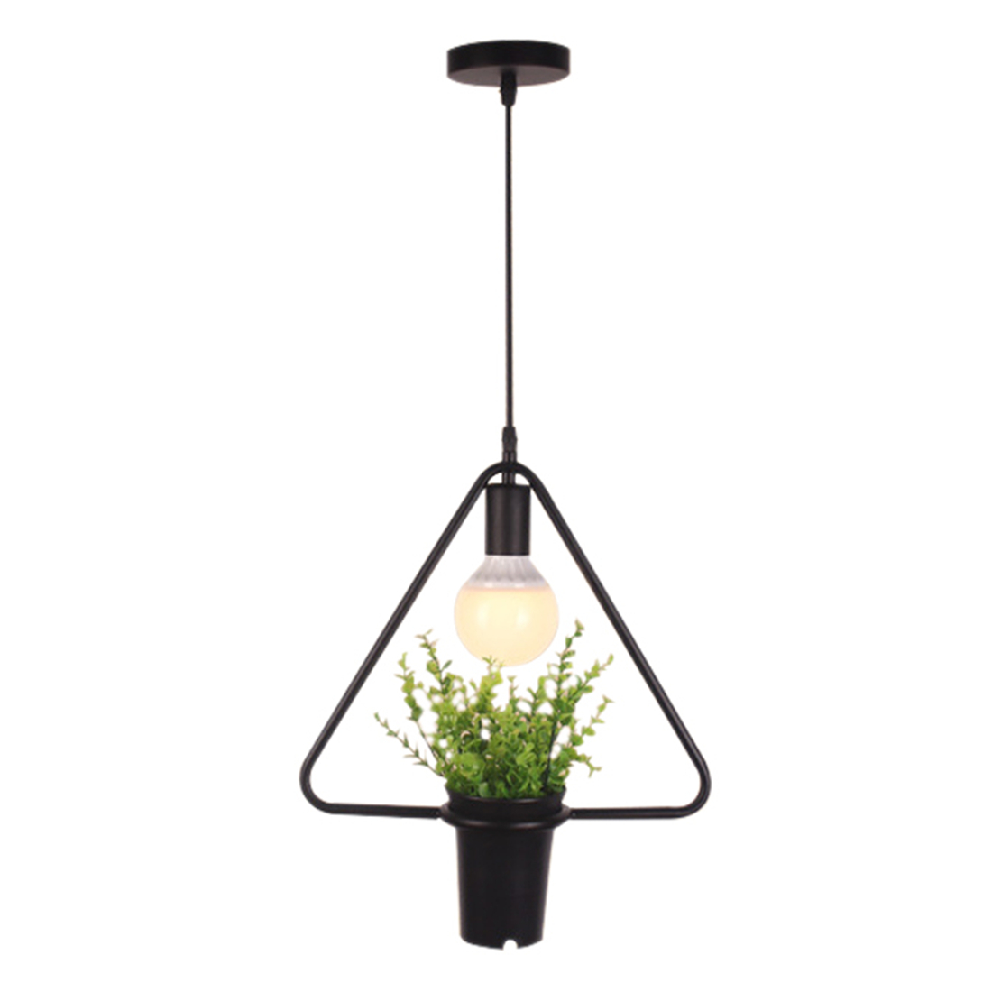 Wish Black Triangular Green Plant Hanging Lamp Retro
