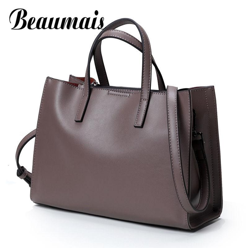 Beaumais Hot Sale Handbags Women Bags Designer Genuine Leather Bag High Quality Weomen Shoulder Bag Solid Crossbody Bag DF0128
