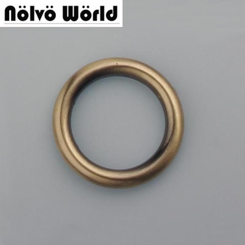 60pcs/lot 5.0mm 1 Inch O Rings Brush Antique Brass For Bags Purse Handmade Accessories Alloy Metal 25mm Welded Ring