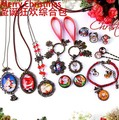 (1set)DIY Material package retro Christmas bracelet hairpin brooch keyring bracelets jewelry accessories glass