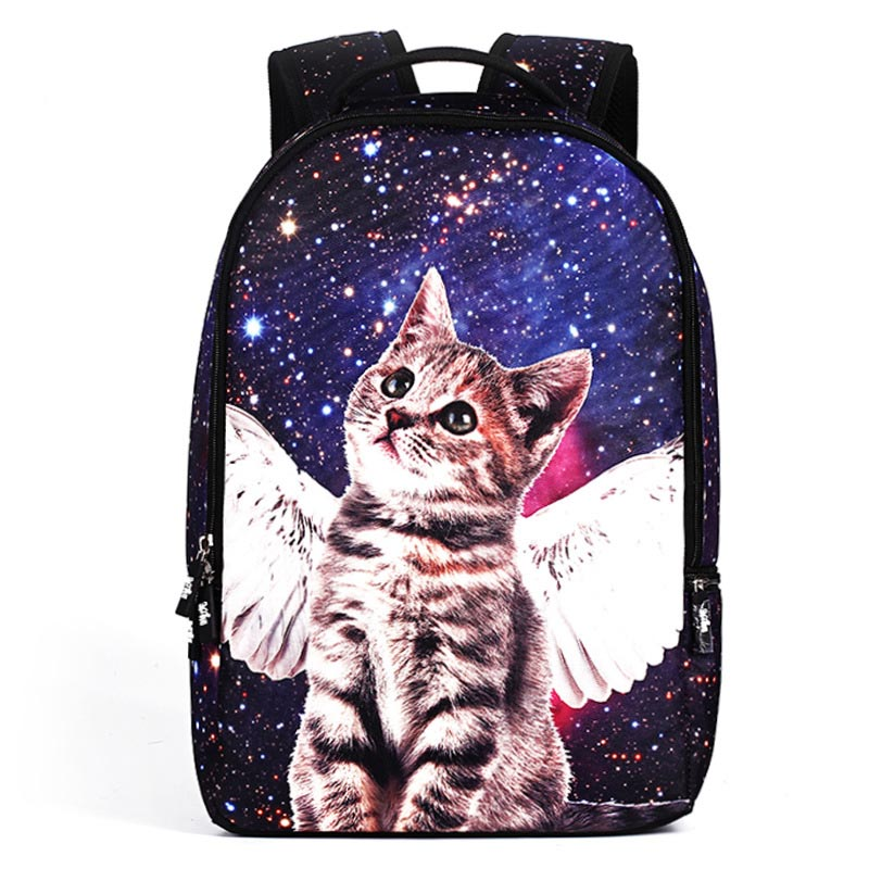 Multicolor Backpack Women Star Cat Printing Backpacks For Teenage Girls Laptop Backpack 18 Inch School Bags