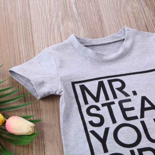 Kids Baby Jongen Meisje Kleding Tees Top Outfits Katoen MR stelen Brief T-shirt Zomer Kinderen Jongens Tops Set 1-6Years