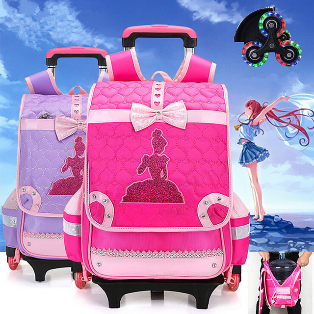 Мода Принцесса flash 2/6 Колеса Девушки Водонепроницаемый Мешок Школы Тележки Мешок Детей Школьного Сумки Дети Колесные Сумки Рюкзак