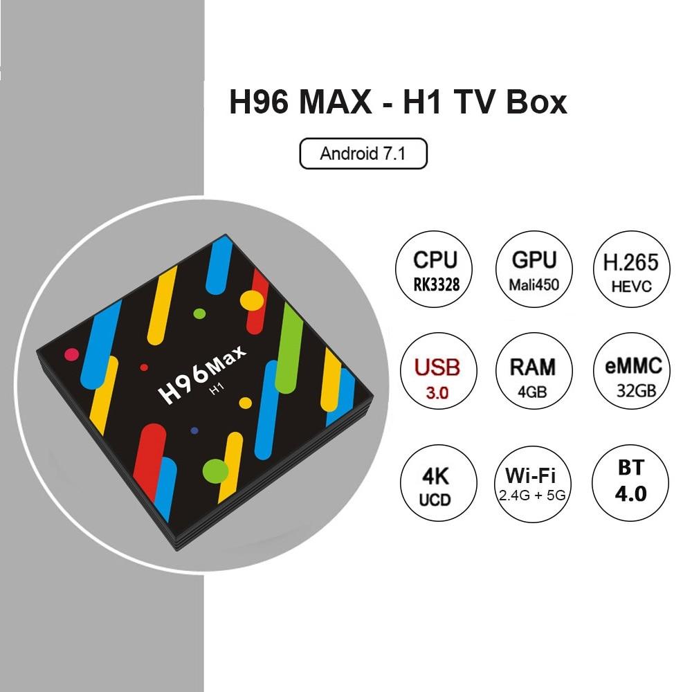 2017 Original H96 MAX H1 TV Box Android 7.1 RK3328 4GB RAM 32GB Lan 100M Bluetooth 4K HD Wifi Smart Media Player Set Top Box h96 max h2 4gb ram 32gb rom smart tv box rk3328 set top box 100m lan 5 0g wifi bluetooth 4 0 hd 4k media player