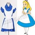 Алиса-Синий Лолита Maid Dress Алиса В Стране Чудес Косплей Костюм Хэллоуин Костюмы для Женщин