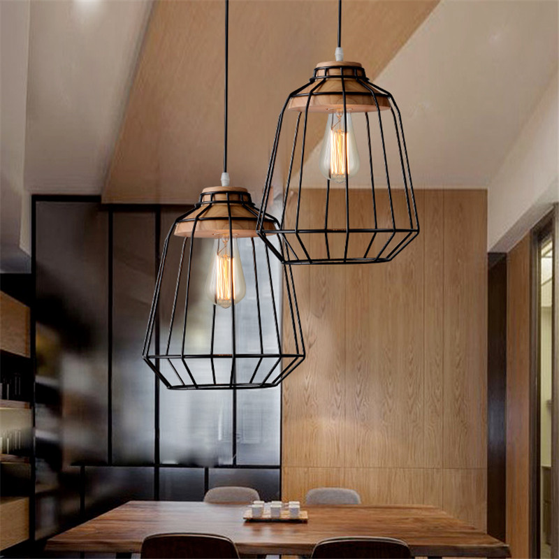 Nordic Style Simple Wood Dinner Pendant Light Iron Cage Restaurant Light Modern Cafe Lights DIA250MM Free Shipping metal pendant light nordic style pendant lights office furniture simple modern lighting contains bulb free shipping