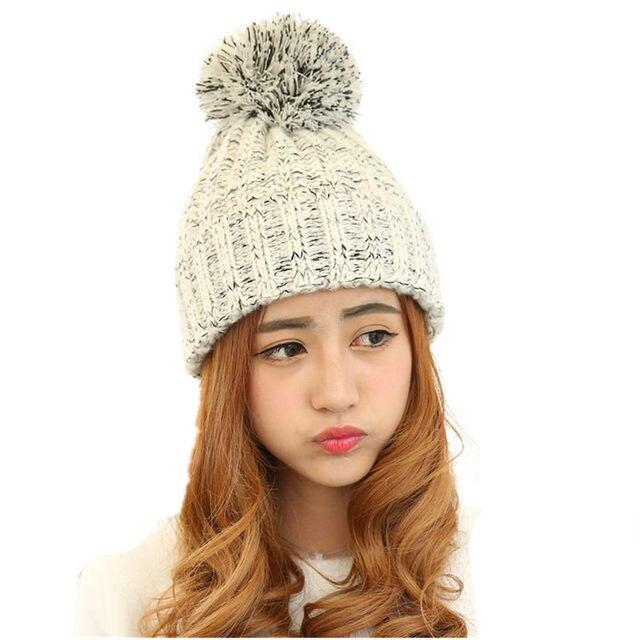 7657a512172 2017 Fashion Women s Autumn Winter Knitted Ball Hats Skullies Beanies Girl   s Casual Crochet Hat