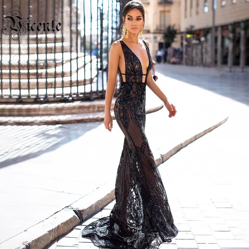 Vicente All Free Shipping HOT Chic Black Sequins Long Dress V Neck Mesh Splicing Sleeveless Celebrity