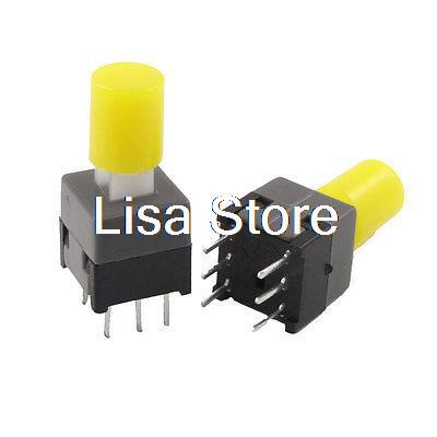 20pcs 8.5 x 8.5mm Yellow Cap PCB Push Button Tactile Tact Switch Lock 6 Pin DIP