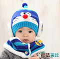 2015 Korean Cartoon Machine cat boys Knitted fur hats winter velvet 2 pcs baby girl scarf hat set For 6 months-3 Year Old MZ3148