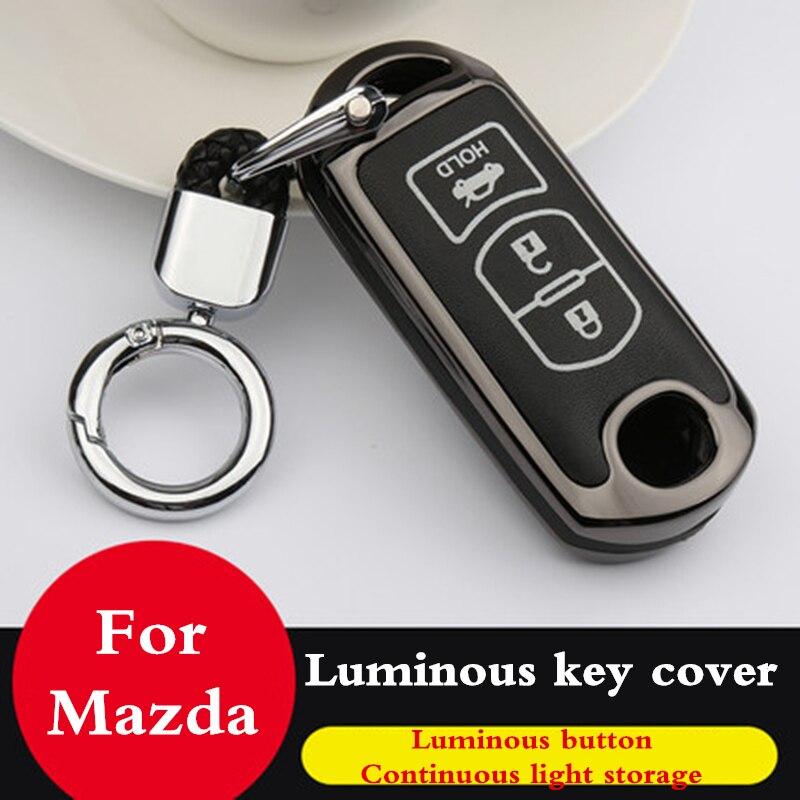 Luminous Zinc alloy leather Key case coverFor Mazda 6 Mazda 3 Mazda 2 Axela Atenza CX-5 CX5 CX-7 CX-9 2015 2016 2017 2018 2019