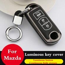 Luminous Zinc alloy leather Key case coverFor Mazda 6 Mazda 3 Mazda 2 Axela Atenza CX-5 CX5 CX-7 CX-9 2015 2016 2017 2018 2019 заглушки для ниппелей автомобилей mazda 3 axela mazda 2 mazda 5 mazda 6 atenza mazda cx 5 cx 7 cx 9