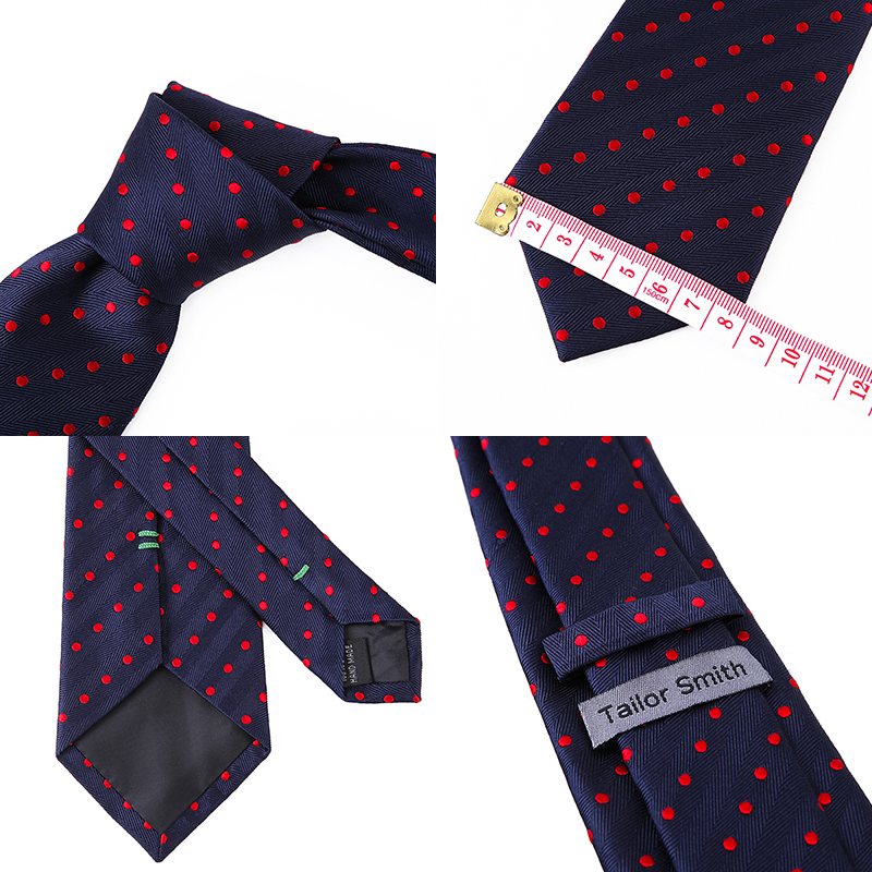 Tailor Smith Necktie Set with Pocket Square Silk Woven Navy Blue - Apparel Accessories - Photo 6