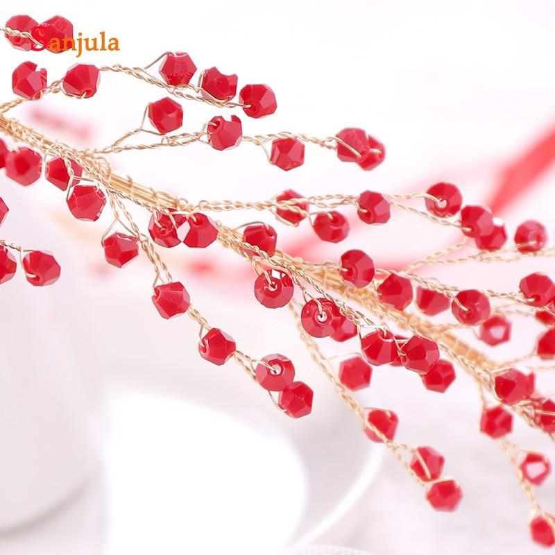 2019 Red Crystals Bridal Head Sash Gold Metal Wedding Chain Marriage Hair Headband Bride Accessory T105