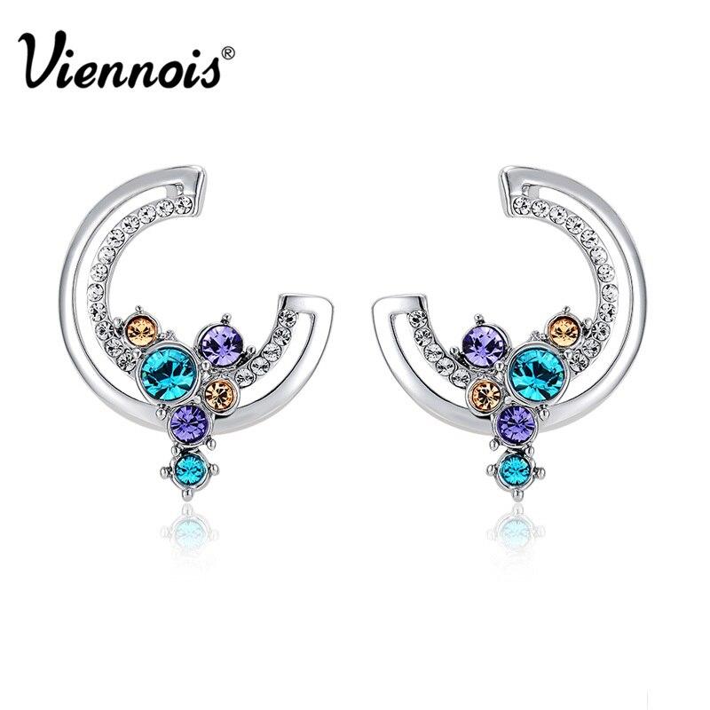 Verantwortlich Viennois Mode Schmuck Silber Farbe Mond Stil Stud Ohrringe Mit Top Österreichischen Strass Für Frau Doule Ohrringe