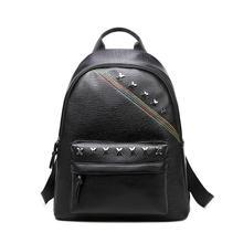 Хороший Мода Дамские туфли из PU искусственной кожи рюкзаки заклепки для девочек школьная сумка женский черный Цвета дорожные сумки Колледж стиль