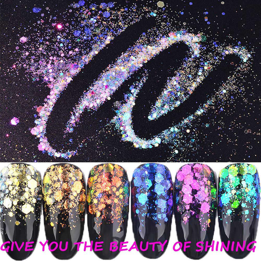 1 коробка блестящая для ногтей блестки ультратонкий Русалка шестигранные хлопья ломтик смешанные сухие блестки 3D сверкающие украшения для ногтей 6 цветов