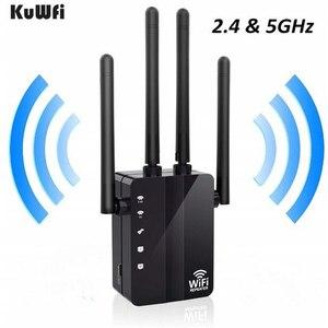 Image 2 - Kuwfi 1200 mbps wifi repetidor com 4 antenas externas, 2 portas ethernet, 2.4 & 5 ghz dupla faixa impulsionador de sinal cobertura completa wi fi