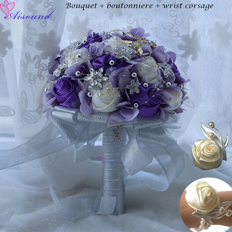 21 Cm Fleurs De Mariage Bleues Bouquets Ensemble Fleur Bleu Roi Broche De Mariee Bouquet Cristal Bouquet De Mariage Ad557b