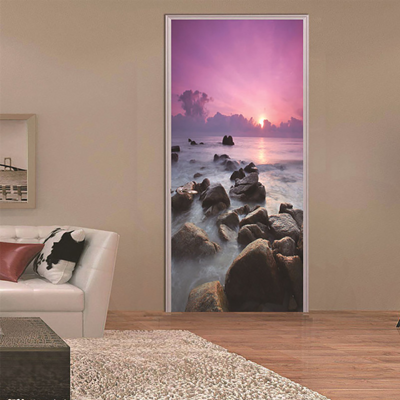 Creative 3D Door Sticker Home Decor Sea Landscape Picture Canvas Print Self Adhesive Durable Wall Artwork Waterproof Wallpaper