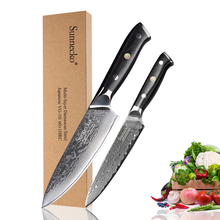 SUNNECKO Damascus 6.5 Chef Knife 5 Utility Japanese VG10 Steel Kitchen Knives G10 Handle Sharp Meat Fruit Cutter Tool