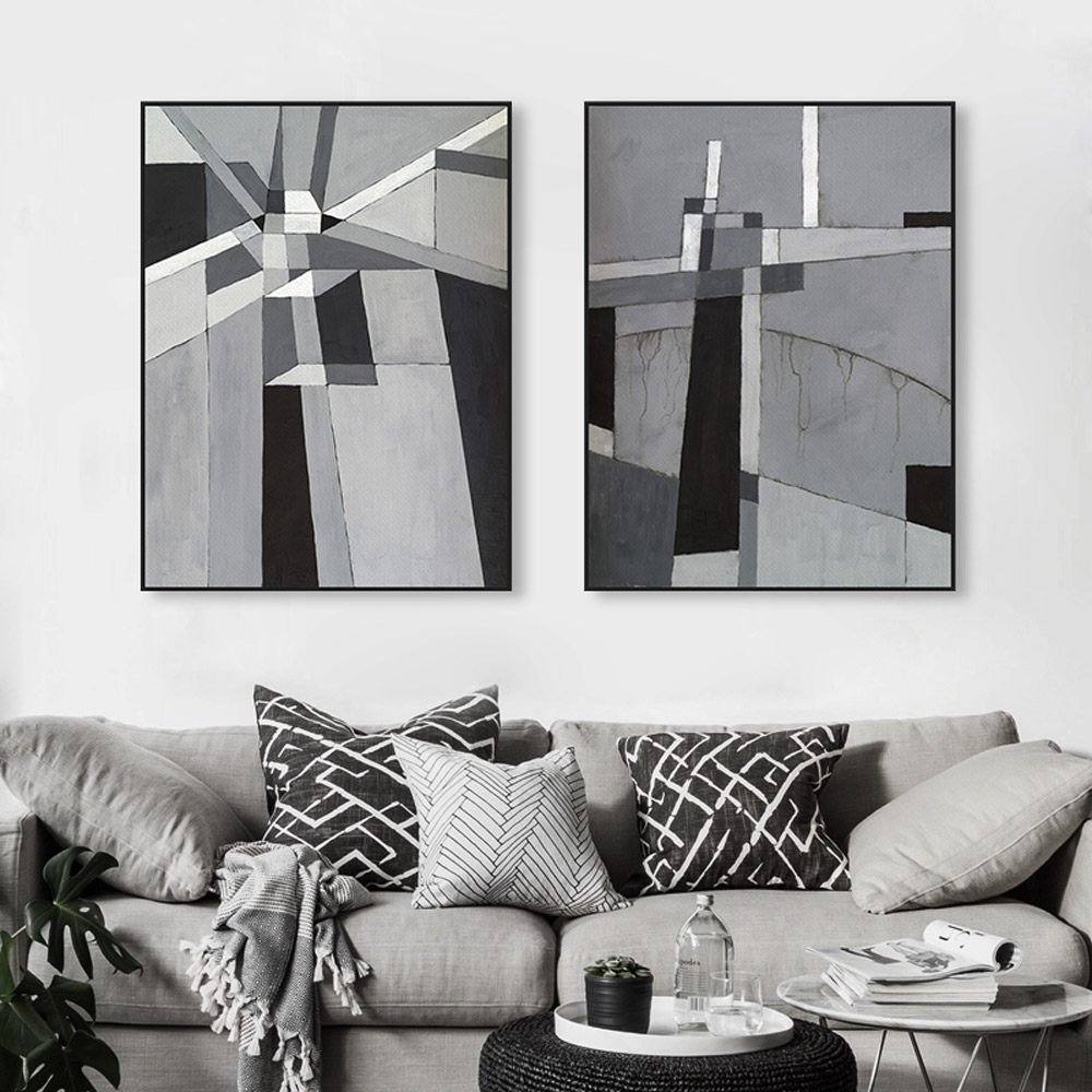Modern Abstract Black White Gray Geometric Poster Prints Nordic ...