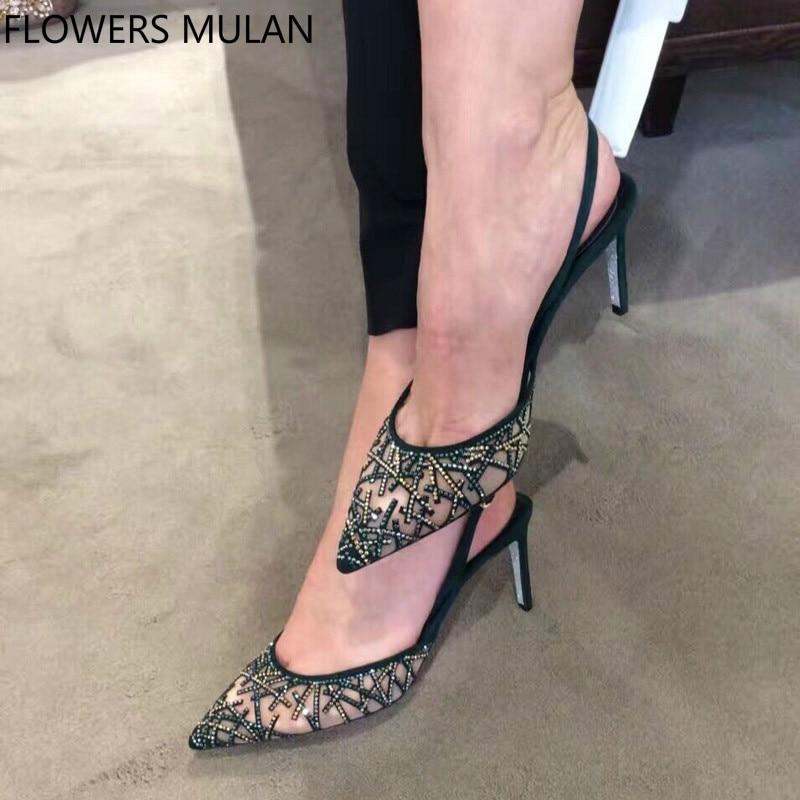 Здесь продается  Fashion Silk Crystal Upper Elegant Lady High Heels Shoes Sexy Pointed Toe Slingbacks Gladiators Shoes Woman Stilettos Girl Pumps  Обувь