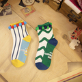 yellow and green New street hit color cotton socks girls socks  Four Seasons General Hand sewing production Best fabrics