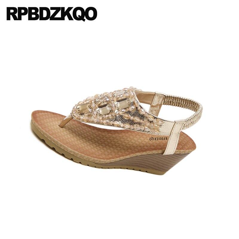 ... Plus Size High Beaded Style Bohemia Heels Pumps Diamond Women Thong  Shoes Fashion Crystal Rhinestone Leisure ... 9aed63f5c823