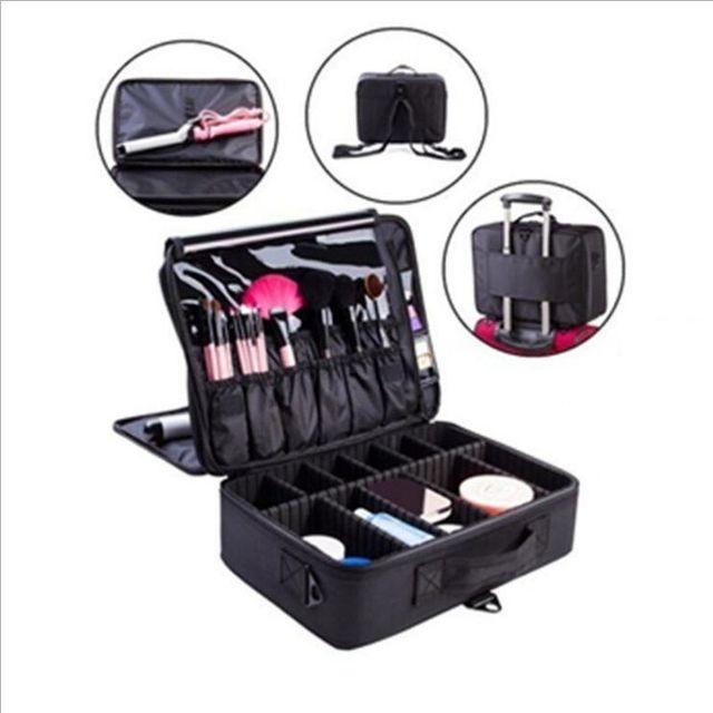 2017 Nuevo de Alta Calidad Profesional de Maquillaje Vacío Organizador Del Caso Cosmético de Viaje Bolsa de Almacenamiento de Gran Capacidad Bolso Mujer Maletas