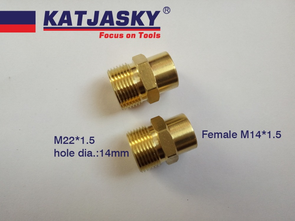 100% Copper Car Washer Hose Connector Thread M22*1.5mm, Hole Dia.14mm, Female Thread M14*1.5