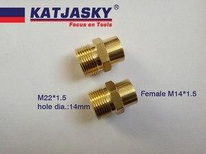 Image 1 - 100% myjni samochodowej złącze węża nici M22 * 1.5mm, otwór dia.14mm, gwint wewnętrzny M14 * 1.5