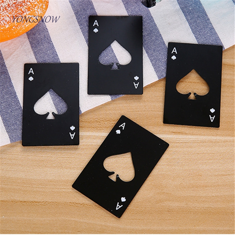 1p Poker Card Beer Bottle Opener Steel Wedding Party Banquet Gift Souvenirs Kitchen Dining Bar Tools Table Decor Favors