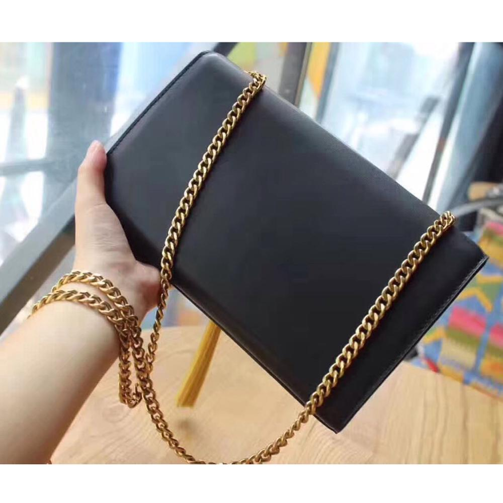 Classic genuine leather shoulder bags flap bags designer handbag tassel chain bags in black leather crossbody bags 247 classic leather