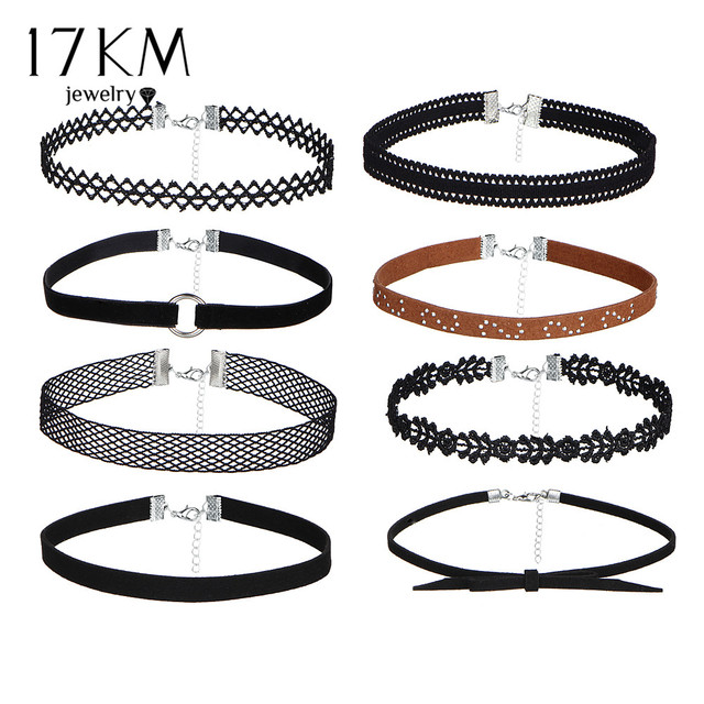 17KM 8 PCS/Set PU Leather Choker Necklaces Set for Women Steampunk Collar Lace N