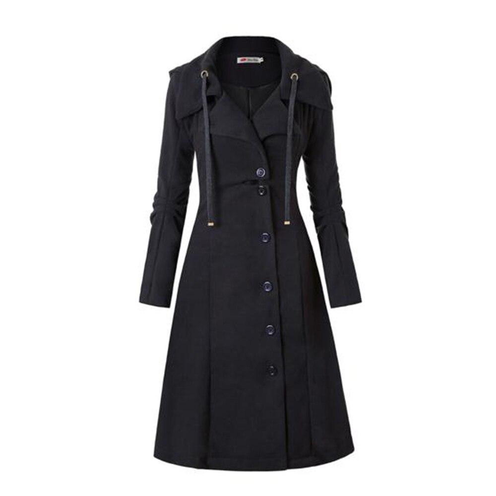 Gothic Women Trench Coat 2018 Winter Autumn Women's Overcoat Windbreaker Female Long Coat Zipper Button Goth Outwear