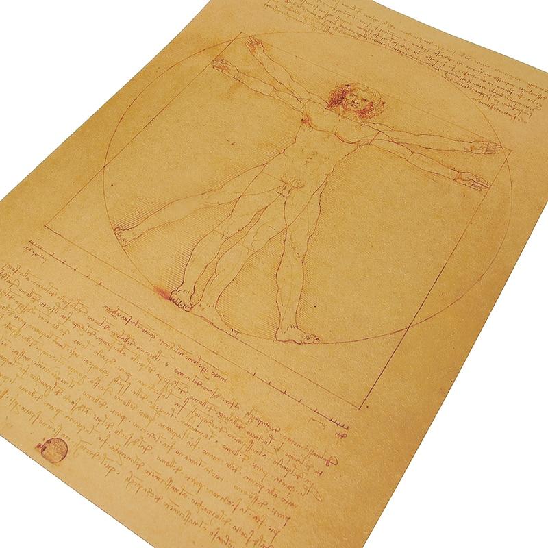 HTB1o7QrLPDpK1RjSZFrq6y78VXaD DLKKLB Leonardo Da Vinci Manuscript Vitruvian Man Posters Nostalgic Vintage Core Kraft Paper Wall Sticker Decorative Painting