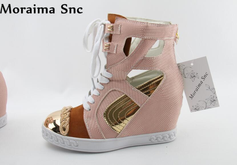 Moraima Snc colorful Height increasing Metal Round toe lace-up patchwork zipper casual boots for women 2018 moraima snc brand sneakers female summer black pink sexy cut out zapatillas mujer casual metal round toe height increasing shoes