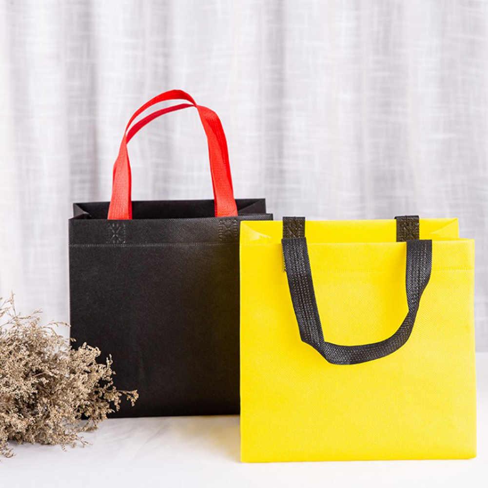 Kasual Wanita Lipat Tas Belanja Dapat Digunakan Kembali Eco Unisex Kain Non Woven Bahu Tas Kain Tas Belanjaan Kantong Makan Siang tas