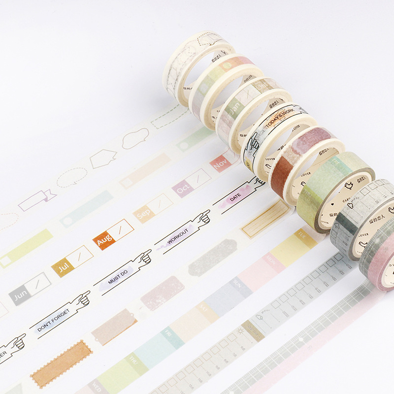 Light Color Daily Plan Washi Tape Adhesive Tape DIY Scrapbooking Sticker Label Masking Craft Tape 2pcs original dream watercolor painting washi tape adhesive craft tape diy scrapbooking sticker masking craft tape 7m