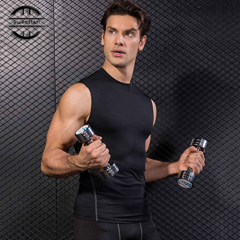 Y1002 New Quickly Dry Elastic Tights Vest Top Gym Fitness Bodybuilding Sleeveless T Shirts Sport Running Vest SHM Yoga Shirt Men