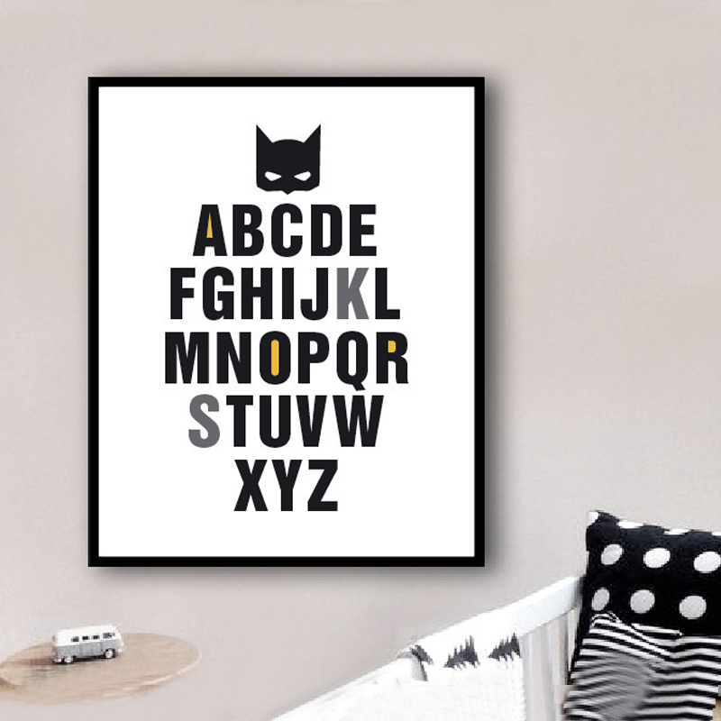 New Super Hero ABC Canvas Paintings Poster Pop Wall Art Print Alphabet Modern Nursery Kids Room Decoration Home Decor Frameles