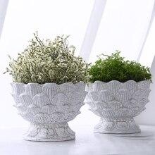 Lotus shape Flower Pot for Succulents Fleshy Plants Flowerpot Planter Pots with free Ceramic Tray Home Garden Office Decorations