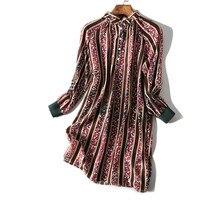 Women Autumn Silk Dress Striped Shirt Dress Natural silk OL Long Sleeve Shirt dresses elegant Vestido Autumn Floral dress